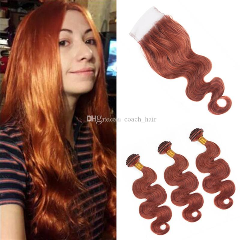 2018 Copper Red Body Wave Hair Bundles With Lace Closure Color 33