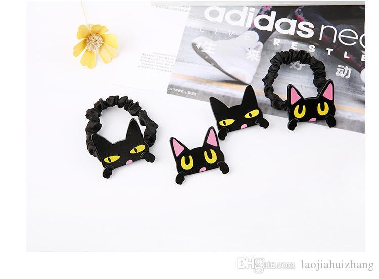 Europa und amerika cartoon erregung cat drapieren gummibänder brosche acryl schwarz rosa haarspangen haarpflege styling werkzeuge free-shipping
