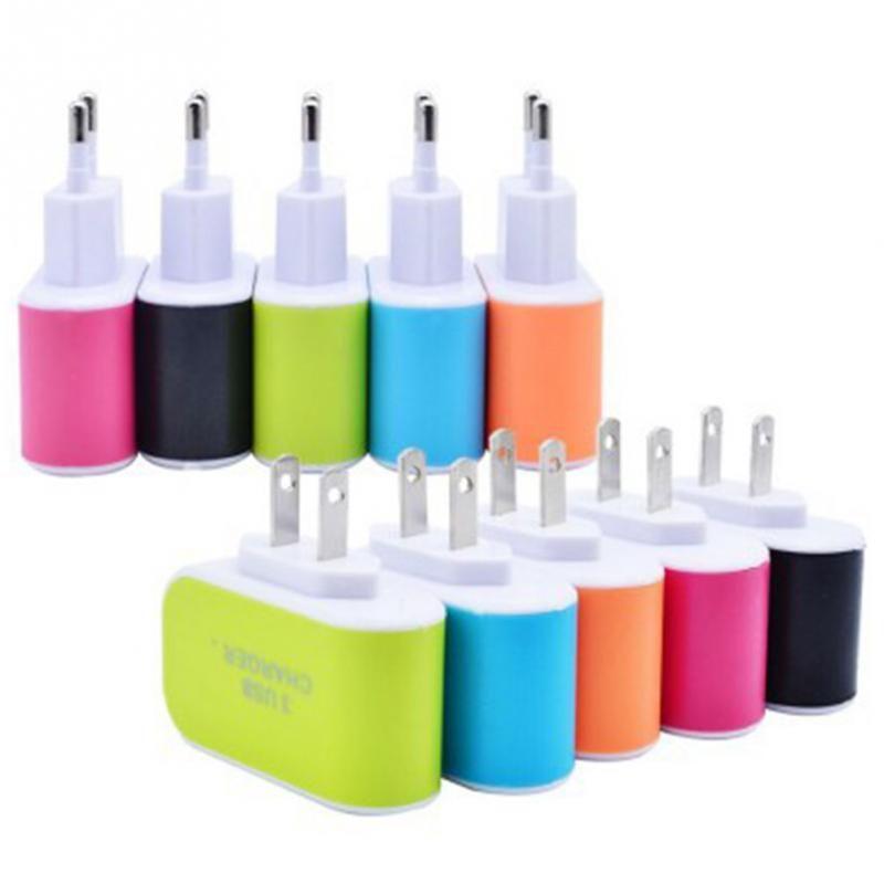 Para iPhone 6 7 Plus 3 Port Fast carregamento USB Charger 3.1A Triplo porta USB Home da parede de viagem AC carregador adaptador de US Plug UE para Android e iOS