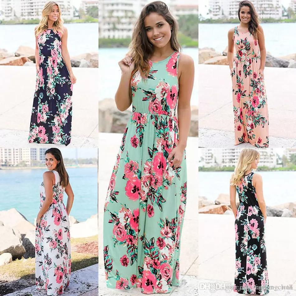 New Summer Dresses Women Floral Printed Sleeveless Boho Dress Evening Gown Party Long Maxi Petticoat Womens Clothing size S-3XL