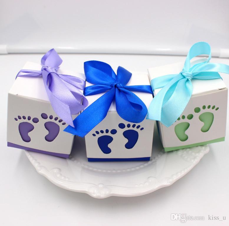 100 unids Baby Shower Cajas de dulces Fiesta de cumpleaños Favores de boda y regalos Niño Rosa Decoración de papel Evento Suministros para fiestas