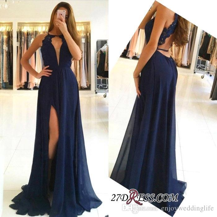 3594466d012 Dark Navy Chiffon Long Evening Dresses 2018 Sexy Halter Open Back Lace Prom  Evening Gowns with Side Split Cheap Party Wear BA9626 Split Evening Dress  ...