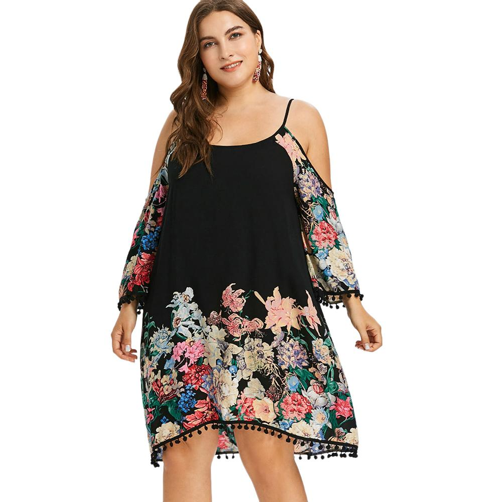 10f5b237abd Wipalo Plus Size Print Casual Cold Shoulder Dress Women Clothing Spring  Spaghetti Strap Long Sleeve Dresses Party Dress Vestidos Party And Evening  Dresses ...
