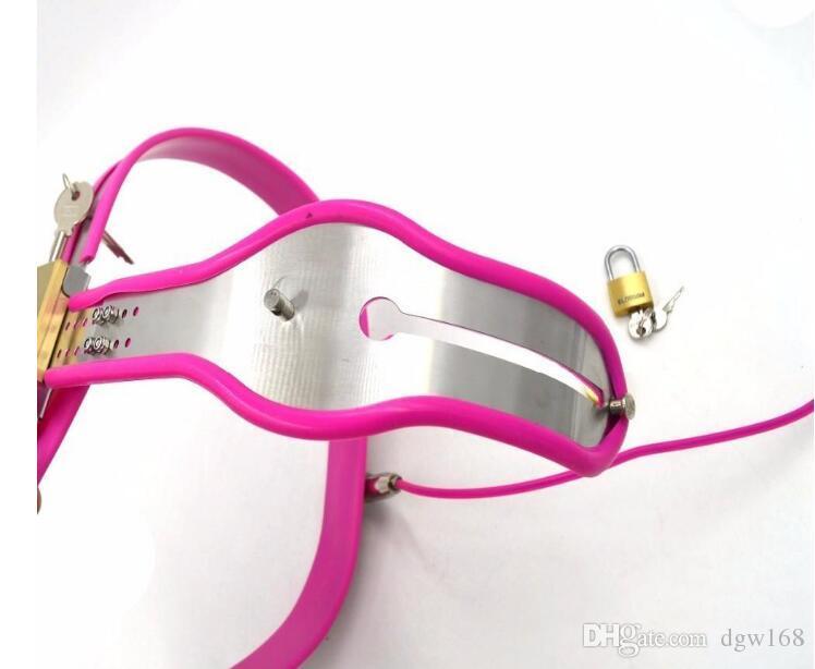 Os dispositivos de castidade feminino rosa mais novo do aplicador com plug vaginal Cinto de castidade de aço inoxidável ajustável do modelo-T para as mulheres bdsm brinquedo do sexo