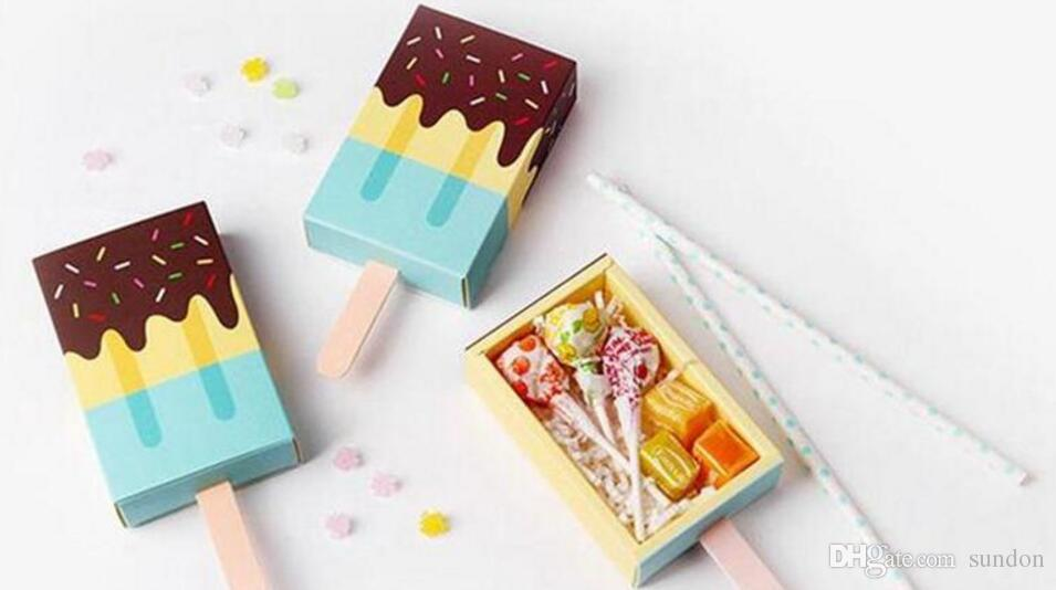 Ice Cream Shape Cute Gift Boxes Baby Shower Birthday Party Candy Box Cartoon Drawer Gift Box For Kids Party Favor