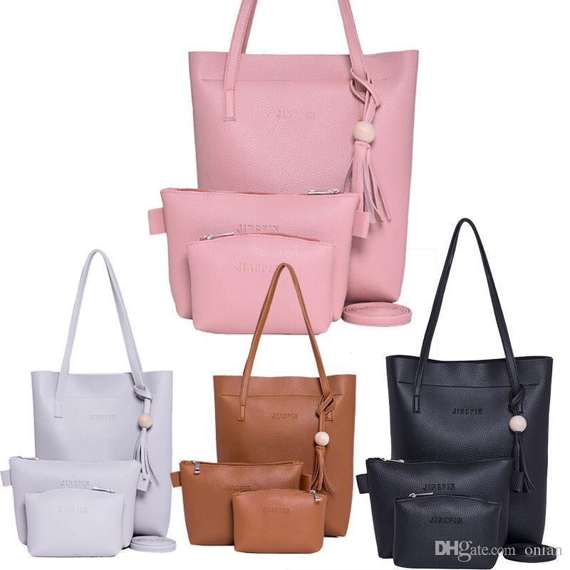 7f57a6761973 Wholesale 2017 New Women Handbag Sets Ladies PU Leather Shoulder Bags  Messenger Satchel Purse Tote Crossbody School Bags Messenger Bags From  Onian
