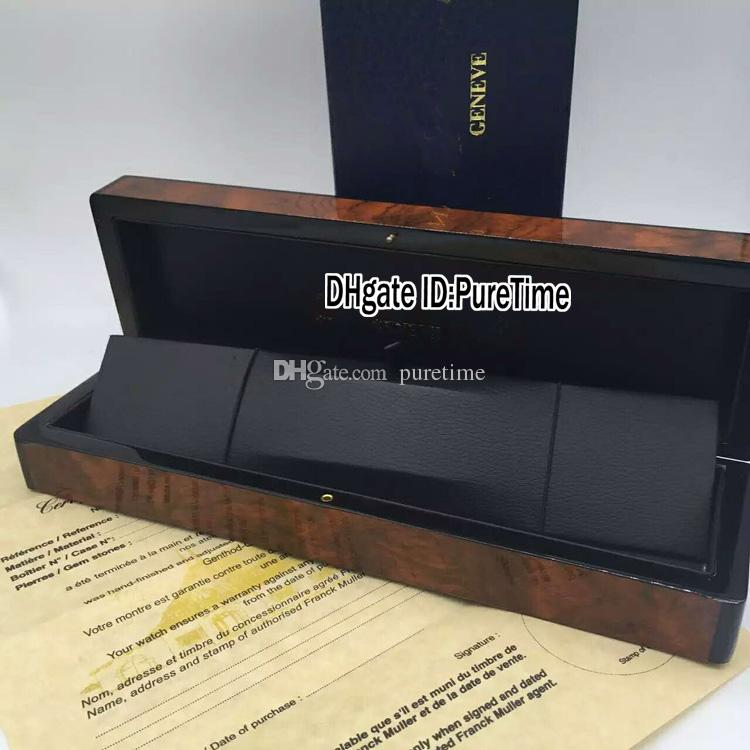 Yükseklik Kalite FMBOX Kahverengi FM Ahşap İzle Kutusu Toptan Orijinal Womens İzle Kutusu ile Sertifika Kart Hediye Kağıt Çanta Puretime