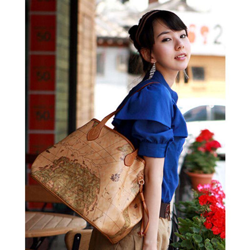 Femmes PU cuir sacs à main vintage impression carte sac dames nouvelle marque célèbre Femmes sacs à main Bolsas femmes sac à bandoulière W16-86
