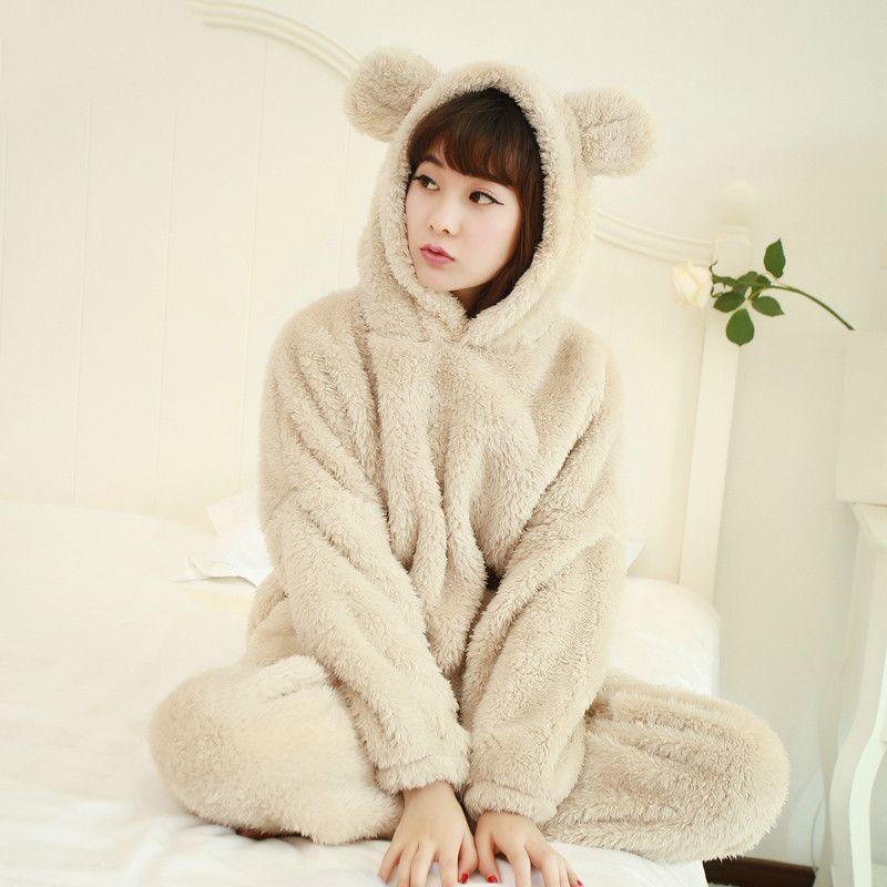 2019 Flannel Pyjamas Set Women Pajamas Girl Cute Bear Plush Warm Winter  Clothes Cartoon Pijama Women Sleepwear With Pockets Outwear From  Ladylbdcloth db79ad211