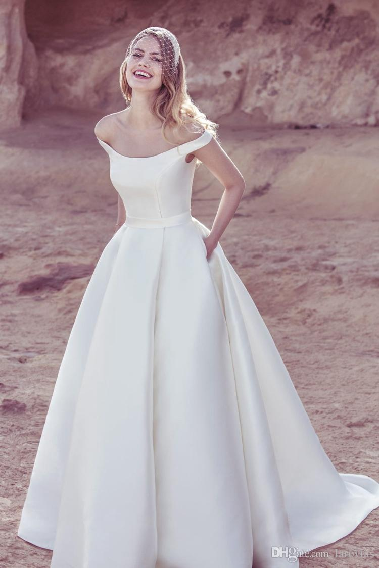 d460d40791 Semplice abito da sposa in raso con spalline, abito da sposa di alta  qualità con tasche, abito da sposa per la sposa