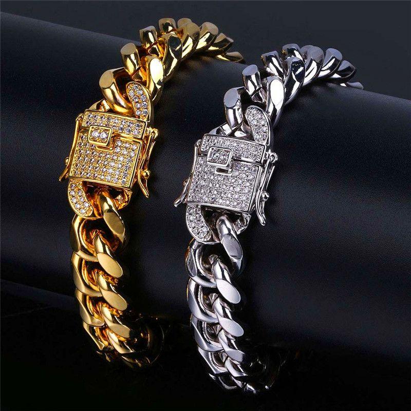 18 Karat Reales Gold Überzogene Armbänder Männer Hiphop Kubanische Kette Zirkonia Miami Armband Herren Hip Hop Zirkon Bangle Rapper Männlichen Schmuck 12mm