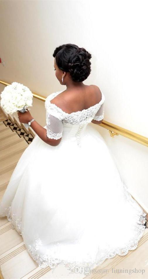 2018 Vintage Beaded Lace Plus Size African Wedding Dresses with Illusion Short Sleeve Jacket Ball Gowns Sequin Tulle Plus Size Wedding Dres