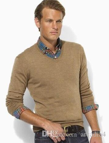 Hot Selling Winter Men Polo Sweater with Horse Cotton Solid Sweaters Classic Casual Knitwear Beige Blue