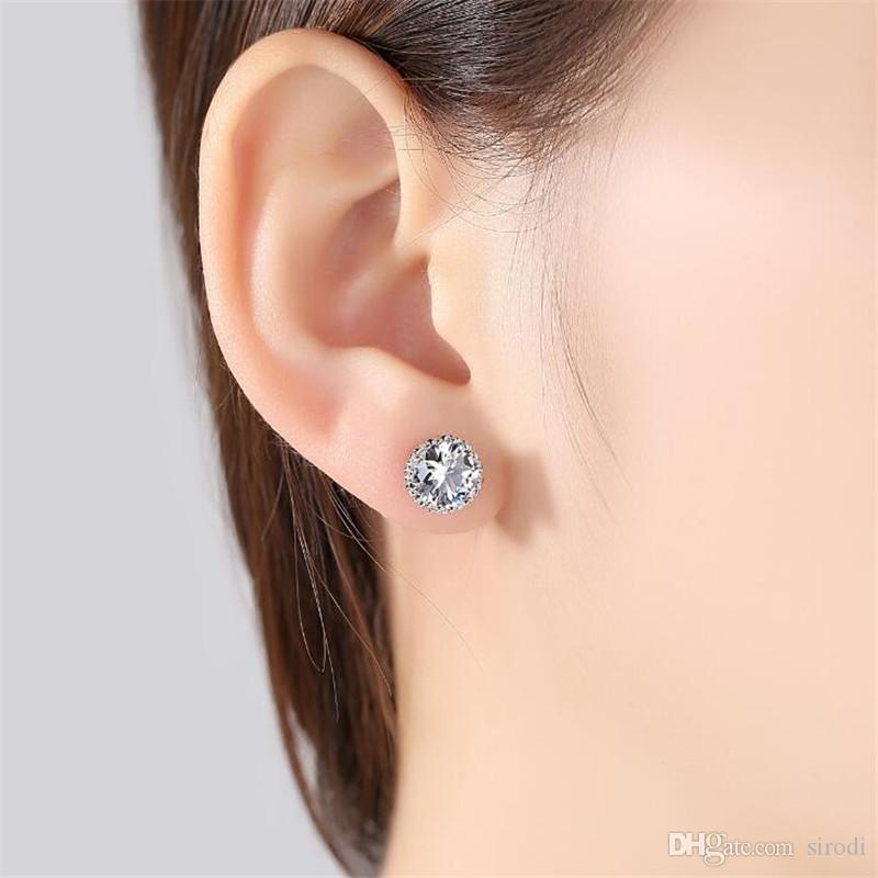 9MM Korean Crown Designer Earrings Real Photo White Gold Earings Women Fashion Luxury AAA CZ Crystal Stud Earrings Snap Jewelry