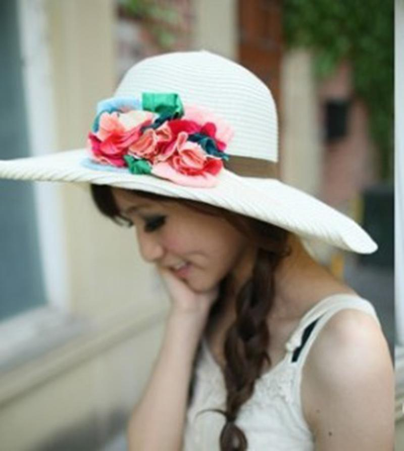 Fashion Lovely Summer Women Casual Style Seaside UV Protection Flowers Bow  Sweet Beach Female Big Sun Hat Men Hats Baby Sun Hat From Saucy 945e621773bf