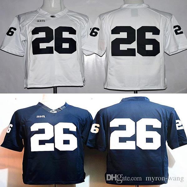 hot sale online f7ba9 01317 Youth 26 Saquon Barkley college Penn State jerseys white navy blue kids  boys size football free shipping stitched with name on back