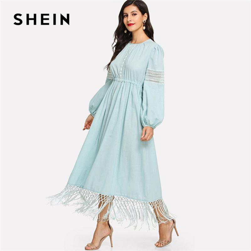e043583bae 2019 SHEIN Blue Elegant Casual Lace Insert Lantern Sleeve Fringe High Waist  Solid Maxi Dress 2018 Autumn Modern Lady Women Dresses From Vineger, ...