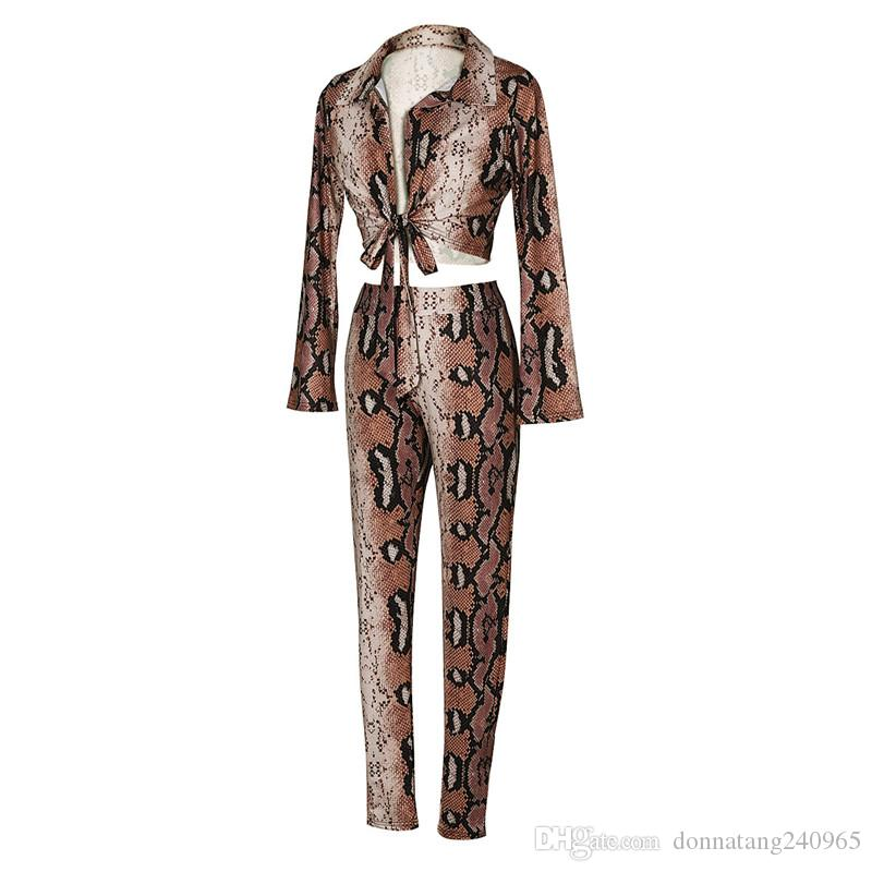 2018 Women Two Piece Set Snake Printed Long Sleeve Blouses Tops Pants Suit Fashion Suits Outfit