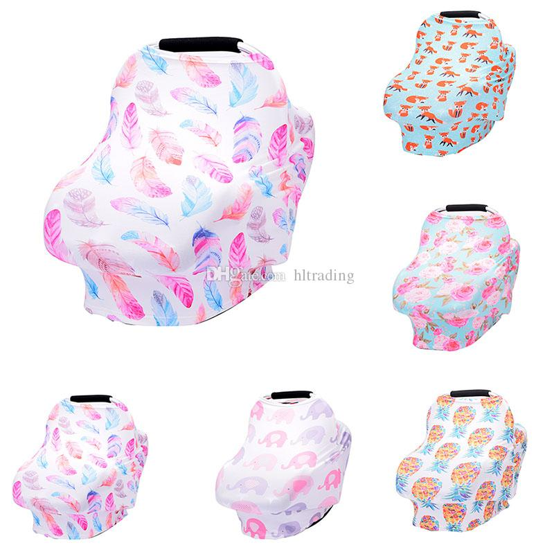 Baby Nursing Cover breastfeeding cover Pineapple Flower Elephant fox print Safety seat car Privacy Cover Scarf Strollers Blanket C4733