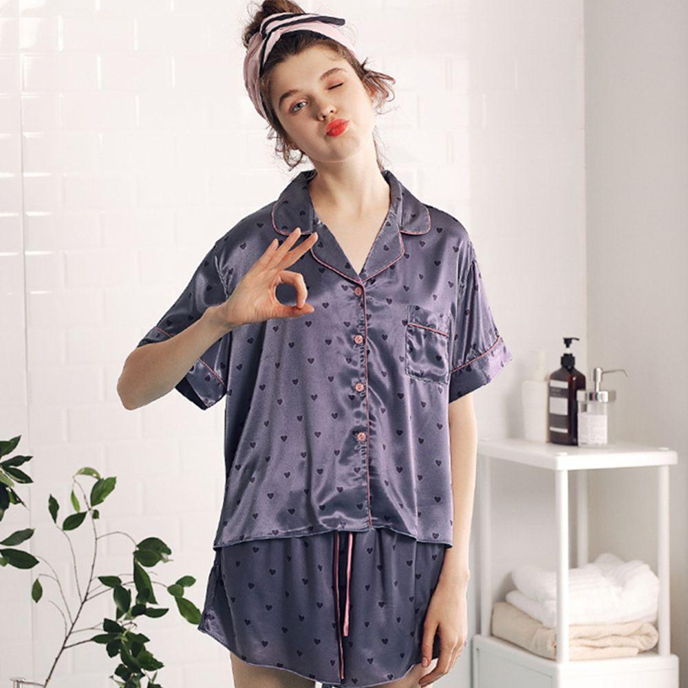 153186afe9 2019 Summer Satin Short Sleeve Pajamas Set Short Set Women Polka Dot ...