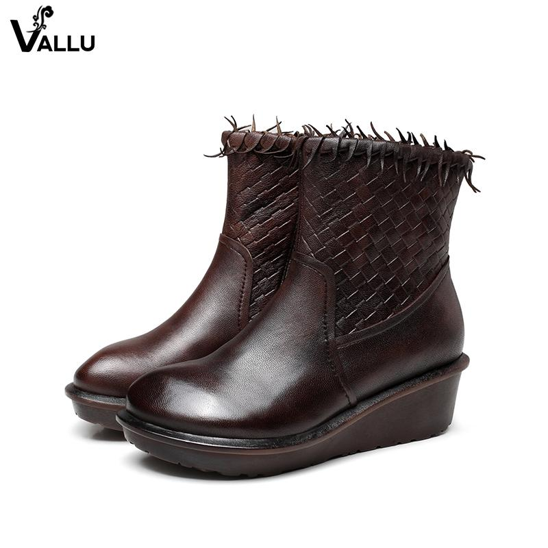 d59031c0db8 Wedge Boots Shoes Women Sheepskin Leather Tassel Woven Lady Booties  Handmade Vintage Mid-Calf Female Heel Shoes