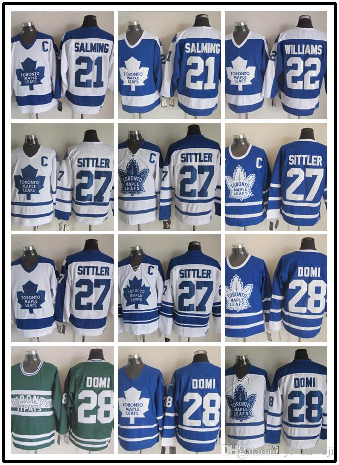 CCM Newest Stitched Toronto Maple Leafs # 21 SALMING / # 22 WILLIAMS / # 27 SITTLER / # 28 DOMI Bianco Blu Verde CCM Hockey su ghiaccio Maglie