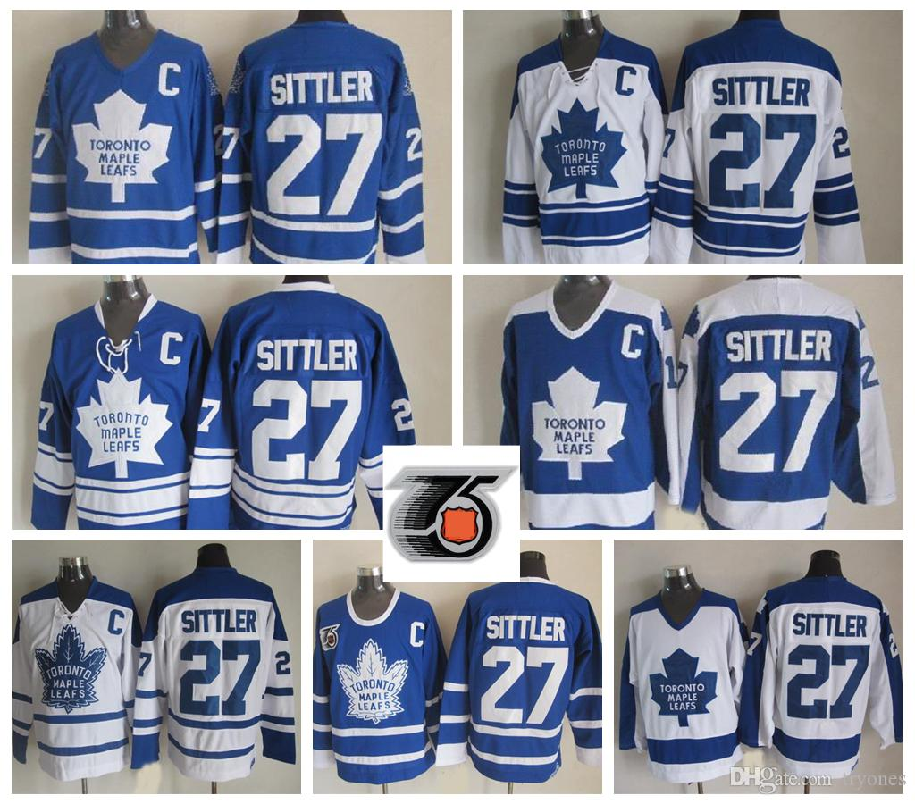 Mens Toronto Maple Leafs Vintage Darryl Sittler Hockey Jerseys Cheap  27  Darryl Sittler Stitched Shirts 75th Anniversary C Patch M XXXL UK 2019 From  Tryones ... f678fafae