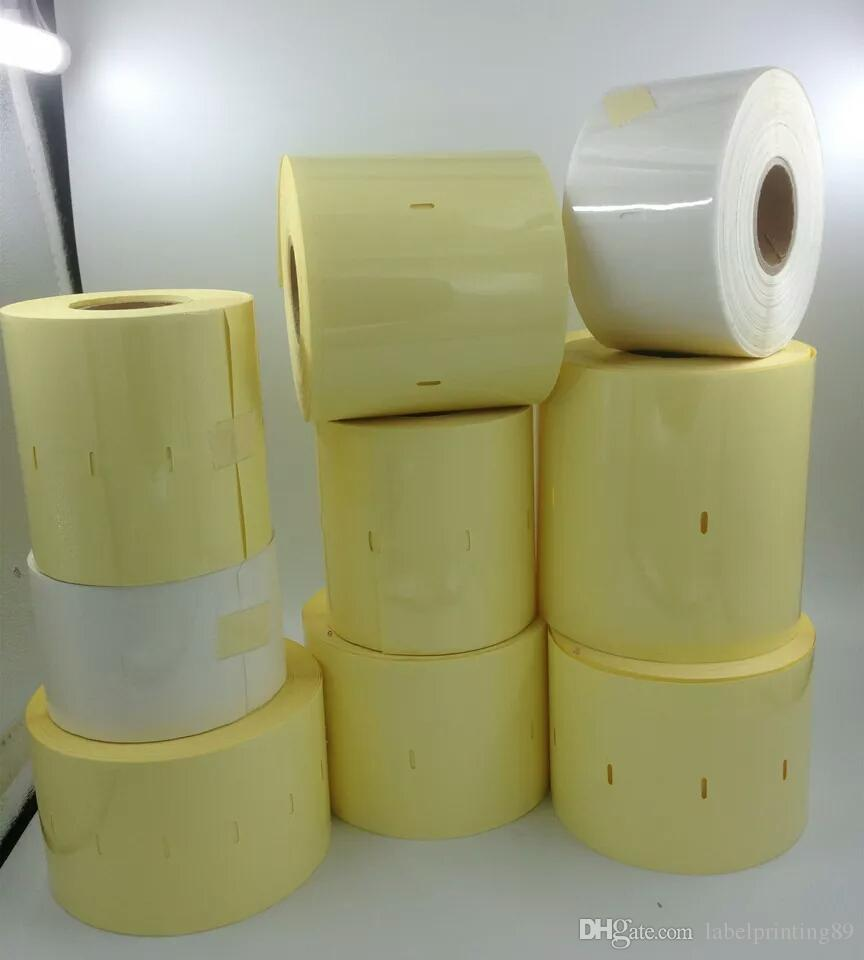 80*60mm /roll blank clear or transparent PVC office barcode self adhesive sticker label for printer