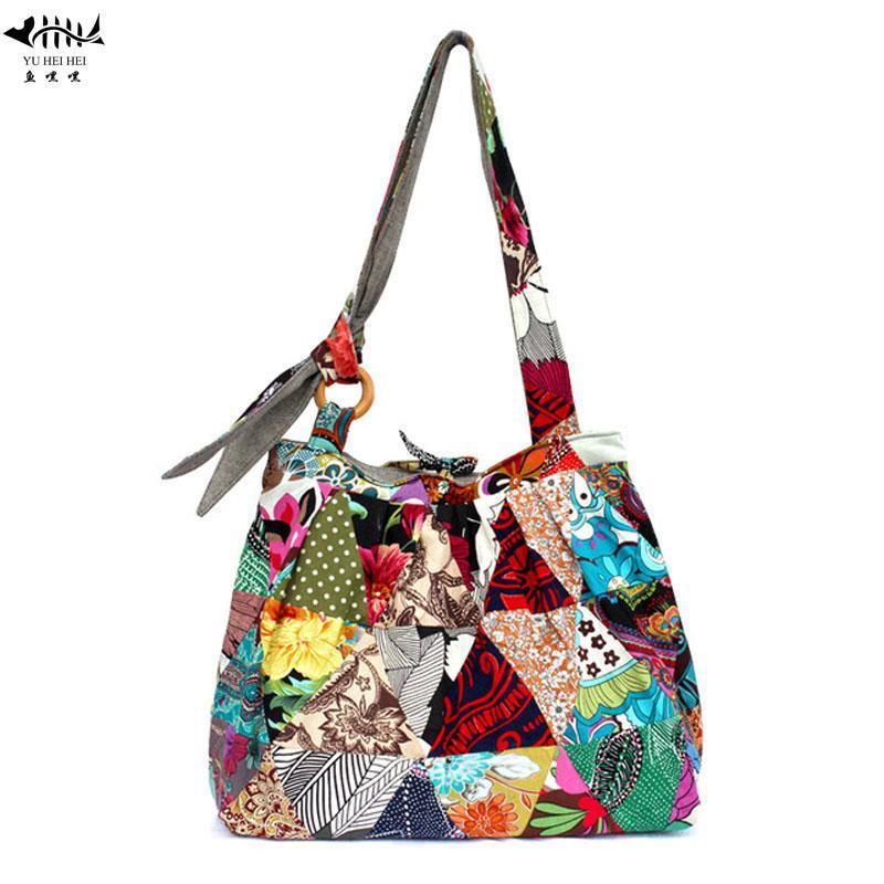 de98ba0cb2c6 Large Bohemian Hippie Hipster Bags Woman Shoulder Cross Body Bag Lady Girl  Unique Patchwork Cotton Canvas Women S Handbag Purse Leather Purse Womens  Purses ...