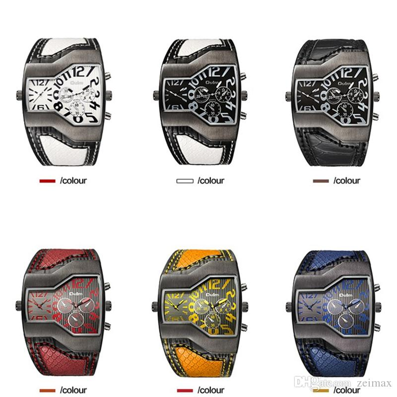 Oulm Brand Quartz Watch Male Square Dial Sport Wristwatches Multiple Time Zone Mens Designer Watches Luxury Men Watch