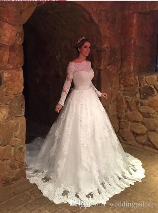 Latest Long Sleeve Lace A-line Wedding Dresses Appliques Lace Up Back Tulle Plus Size Bridal Wedding Gowns Bride Dresses