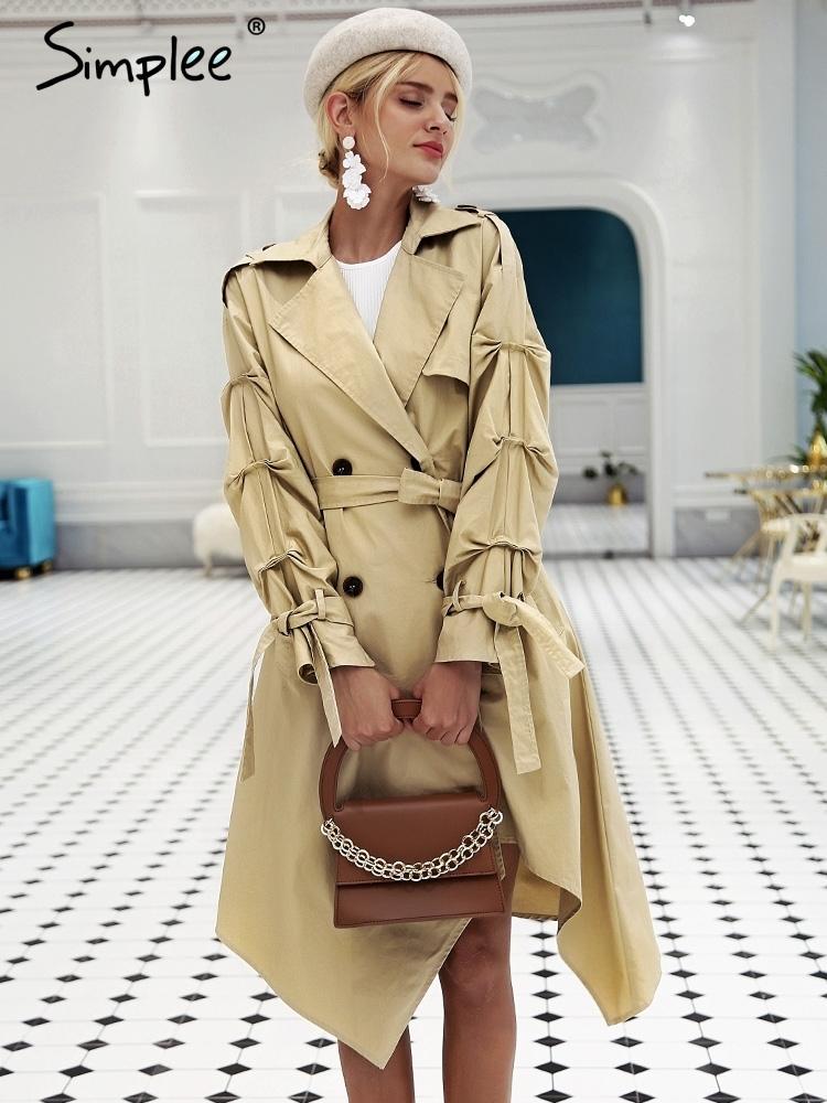 7ebc361bb421 Simplee нерегулярные длинные пальто женщин двубортный хаки верхняя одежда  пальто ...