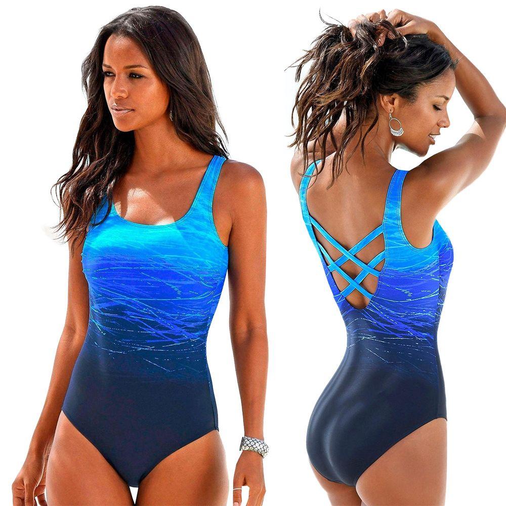 e3f94e189df 2019 Gradient One Piece Swimsuit Women Vintage Swimwear Criss Cross Back  Monokini Blue Bath Suit 2018 Beach Wear Maillot De Bain From Lin_and_zhang,  ...