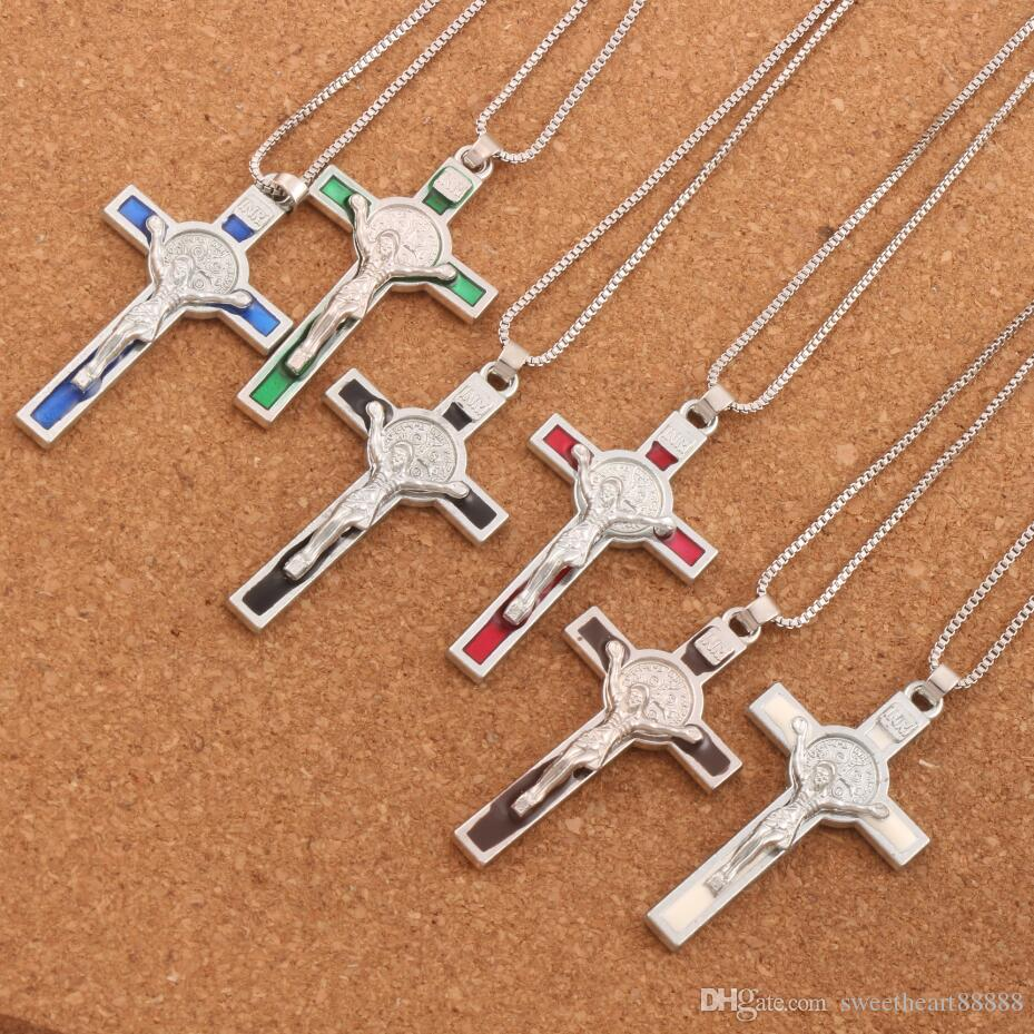 Silver Plated 6Color Enamel Saint Benedict Medal Italia Crucifix Cross Religious 53.1x29.2mm Pendant Necklaces N1715