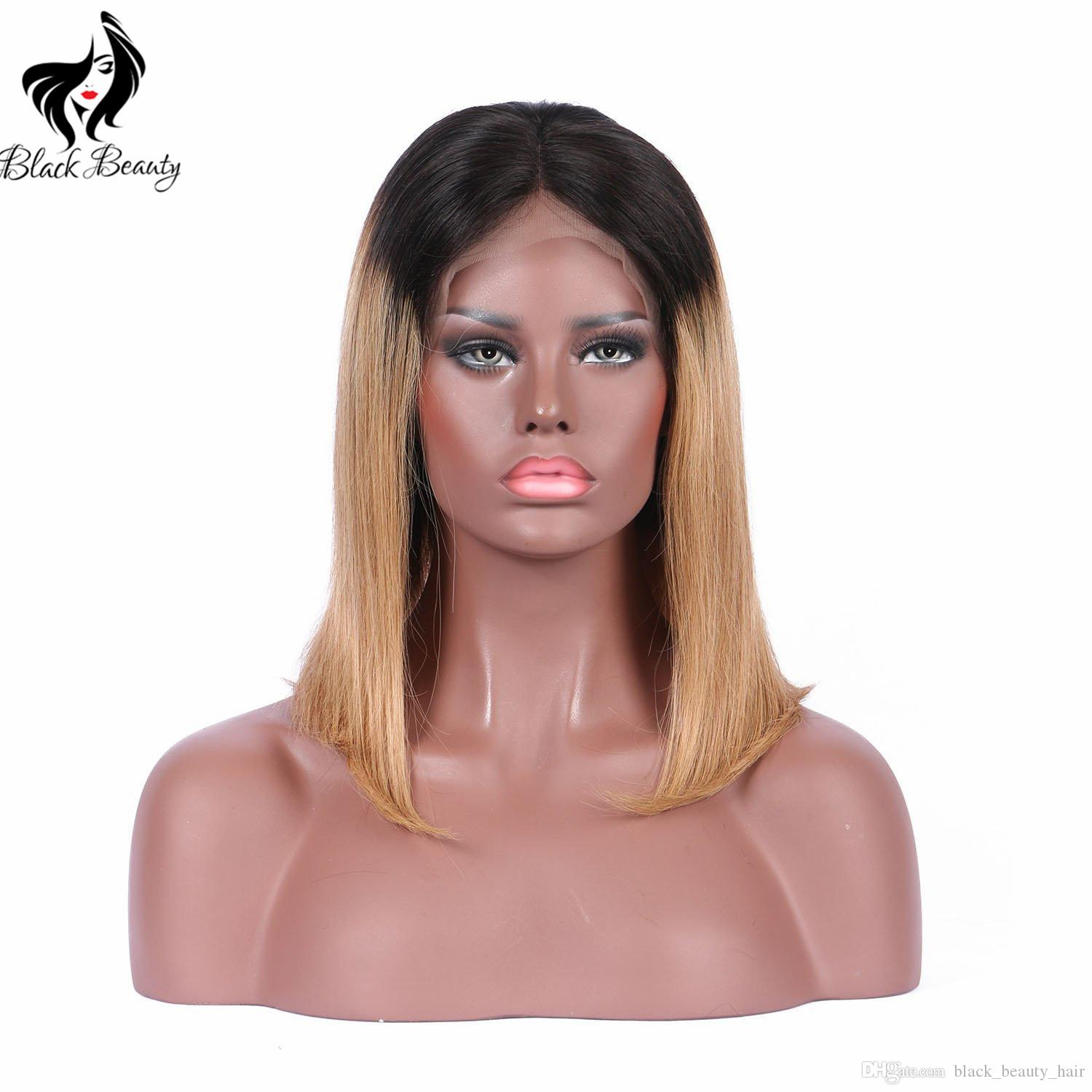 Two Tone Ombre Human Hair Lace Front Wig for Black Women Brazilian Virgin Hair Ombre 1b 27 Brazilian Silky Straight Bob Wig