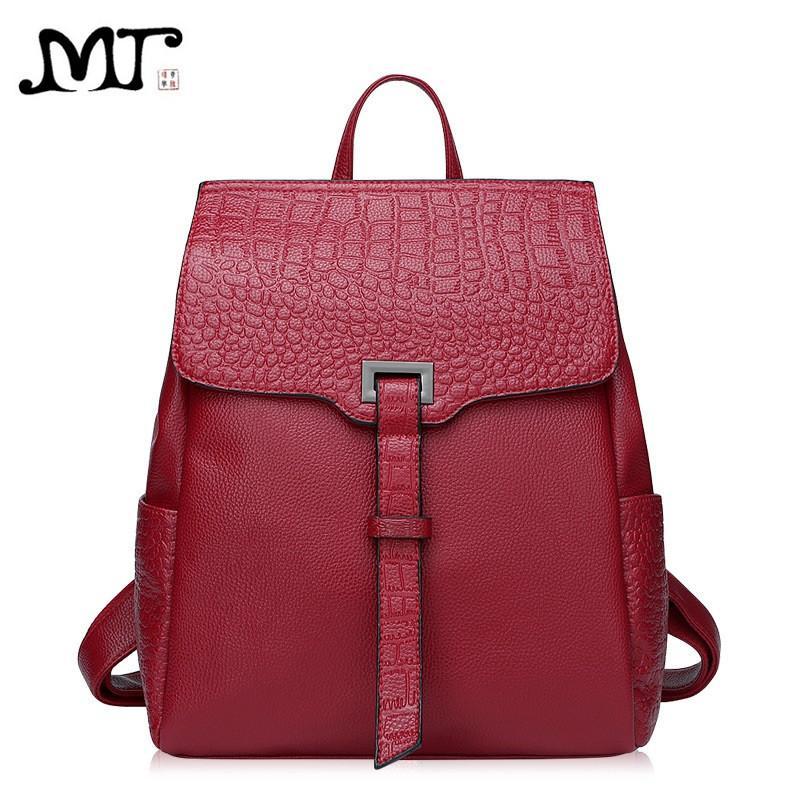 11376a736085 MJ Марка дизайн женщины рюкзаки мода Аллигатор натуральная кожа женский  рюкзак ...