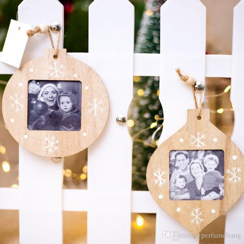 Christmas Decorations Diy Wooden Photo Frame Pendant Christmas