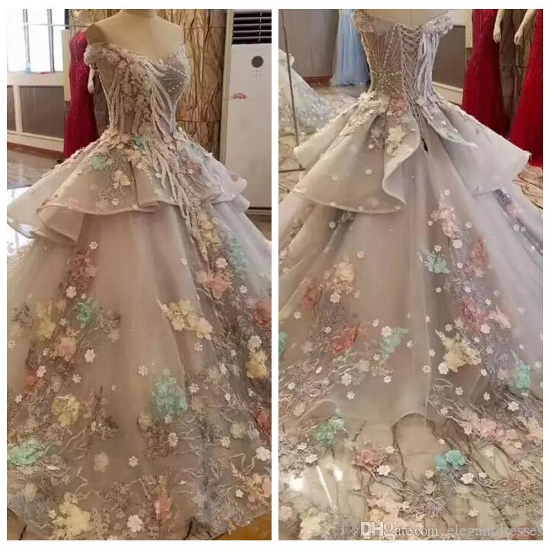 809db80ca7 2018 Beautiful Grey Off The Shoulder Floral Appliques Wedding Dresses  Spring Summer Tulle Custom Bridal Gowns Lace Appliques Dubai Colorful