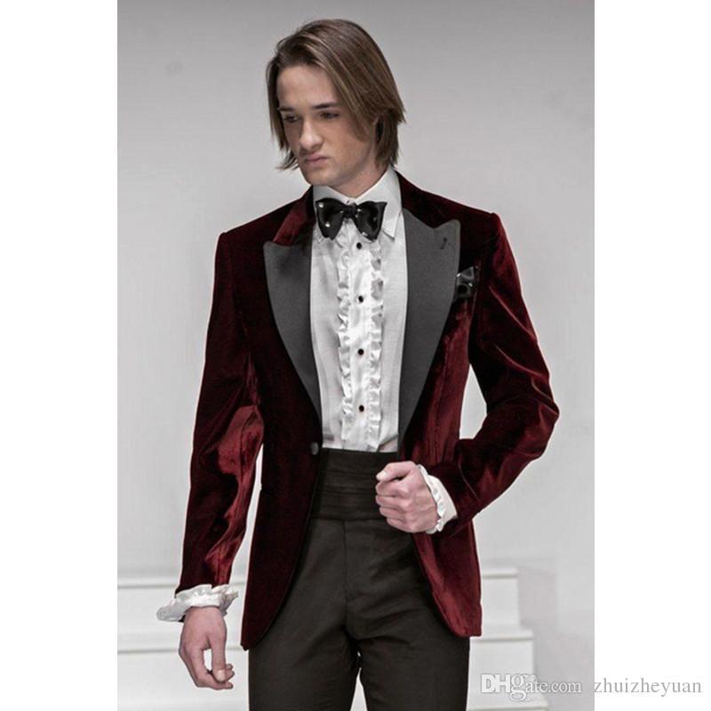 Fashionable Dark Red Velvet Groom Tuxedos Custom Made Best Groomsmen ...