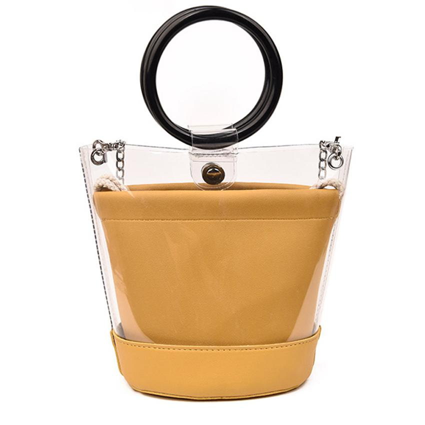 Famous Brand Design Clear Transparent Bucket Pvc Bag Barrel Shaped Small Mini Wood Handle Handbags Women Fresh Beach Bag