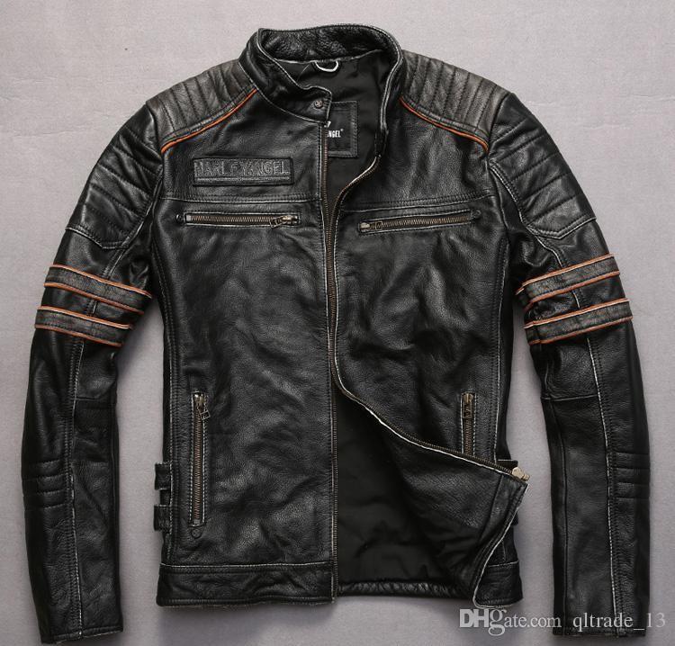 Casacos de couro bordados cabeça do crânio cor preta do vintage motocicleta jaqueta de couro gola