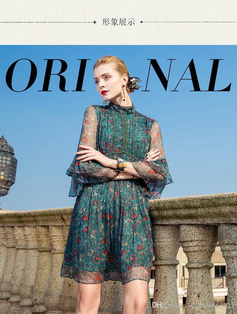 Großhandel Weinlese Stickerei Sommer Silk Kleid Frauen 2018 Neue Art ...