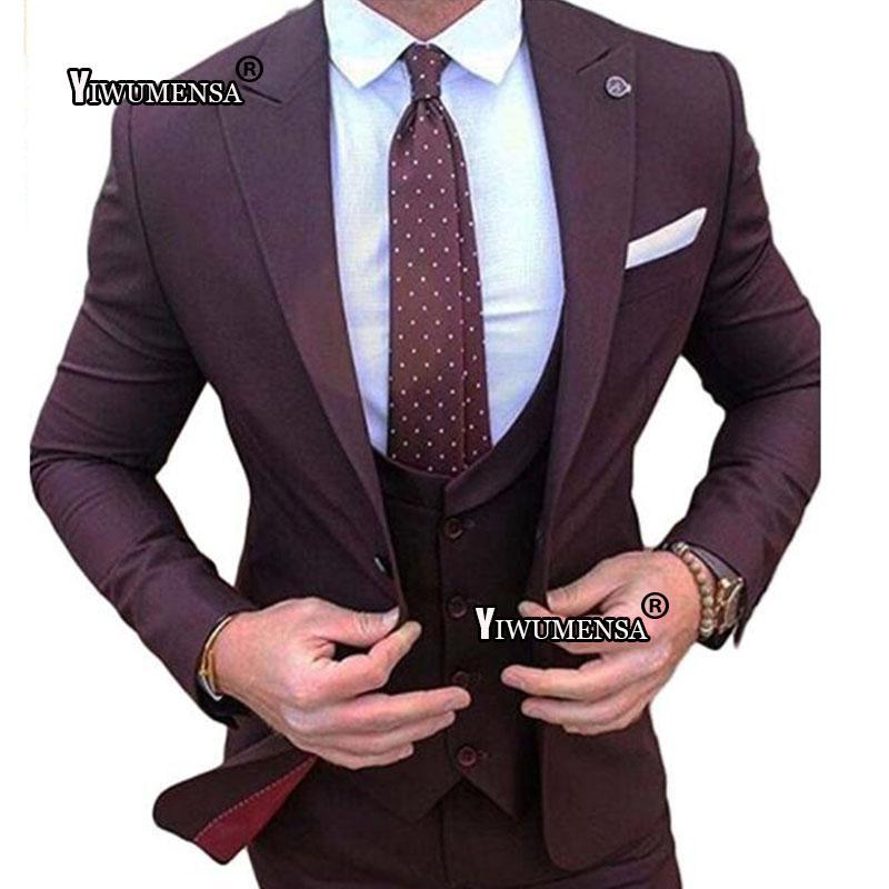 Compre Y535 Terno Masculino Slim Fit Vino Rojo Boda Grrom Traje De Hombre  Tres Piezas Trajes De Boda Chaleco Chaleco Pantalones Prom Blazer 2018 A   256.44 ... 35d971c1a75