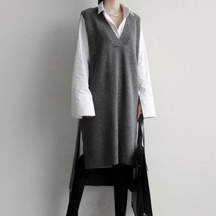ad0c895e3b26 2019 Korea 2018 Knitted Sweater Vest Grey Black Long Vest Dress Knit ...