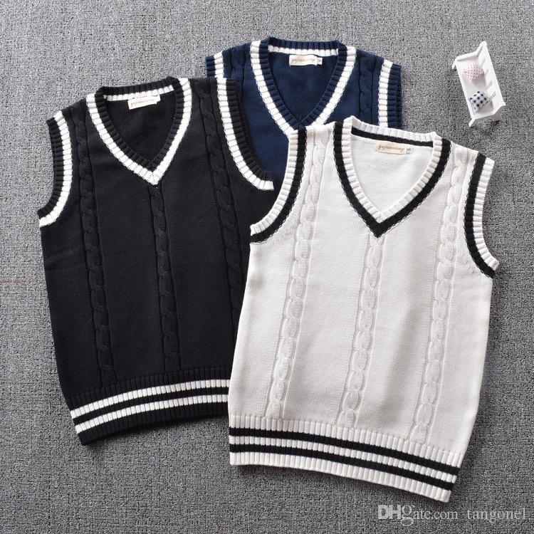 ec38c8b2499 2019 British Preppy School Girl Sleeveless Sweater Vest School Uniforms V  Neck Japanese Boys And Girls Students Korean Knitted Vest From Tangonel