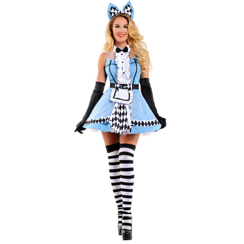 grosshandel heisser verkauf alice im wunderland kostum cosplay alice fantasie karneval halloween kostume fur frauen sexy blue panty dress von priscille