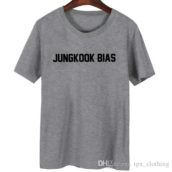 Jungkook t shirt Bts bias cool words short sleeve gown Street leisure tees  Unisex clothing Pure color cotton Tshirt