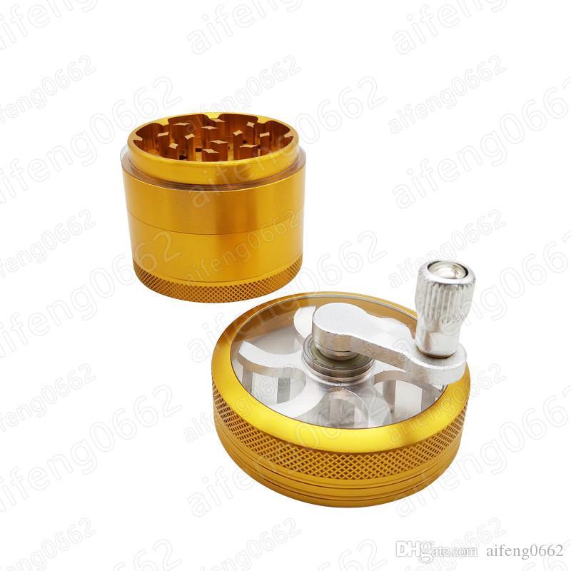 도구 액세서리 손 생크 시가 4 층 담배 금속 그라인더 풍차 모양의 디자인 56mm 직경 허브 그라인더