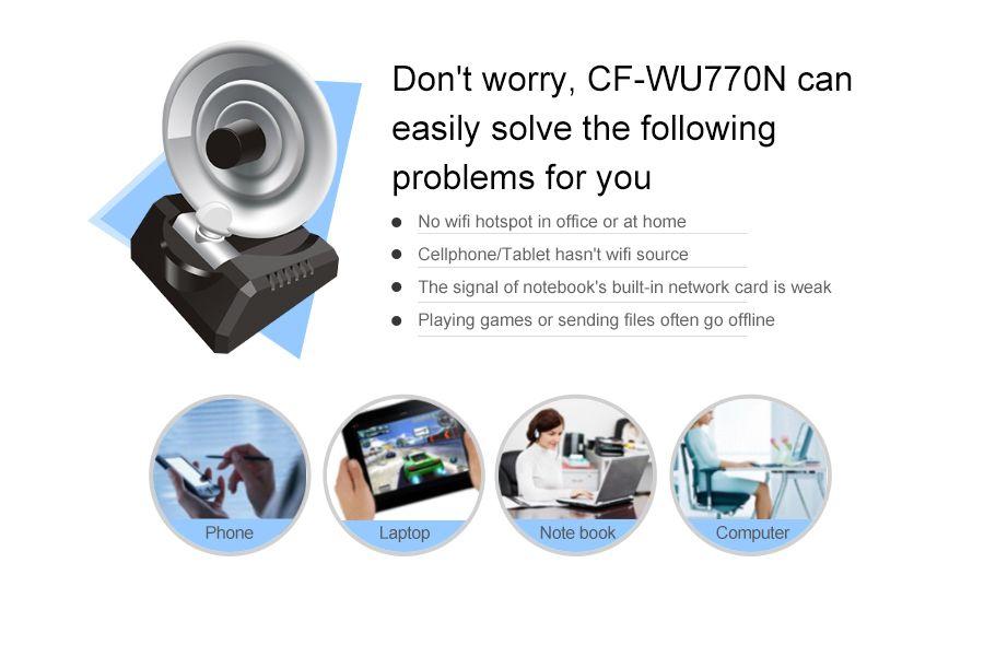 USB wifi adapter wireless wi-fi Adapter usb wifi Antenna 150Mbps 2.4Ghz computer network card 10dBi antenna Comfast CF-WU770N