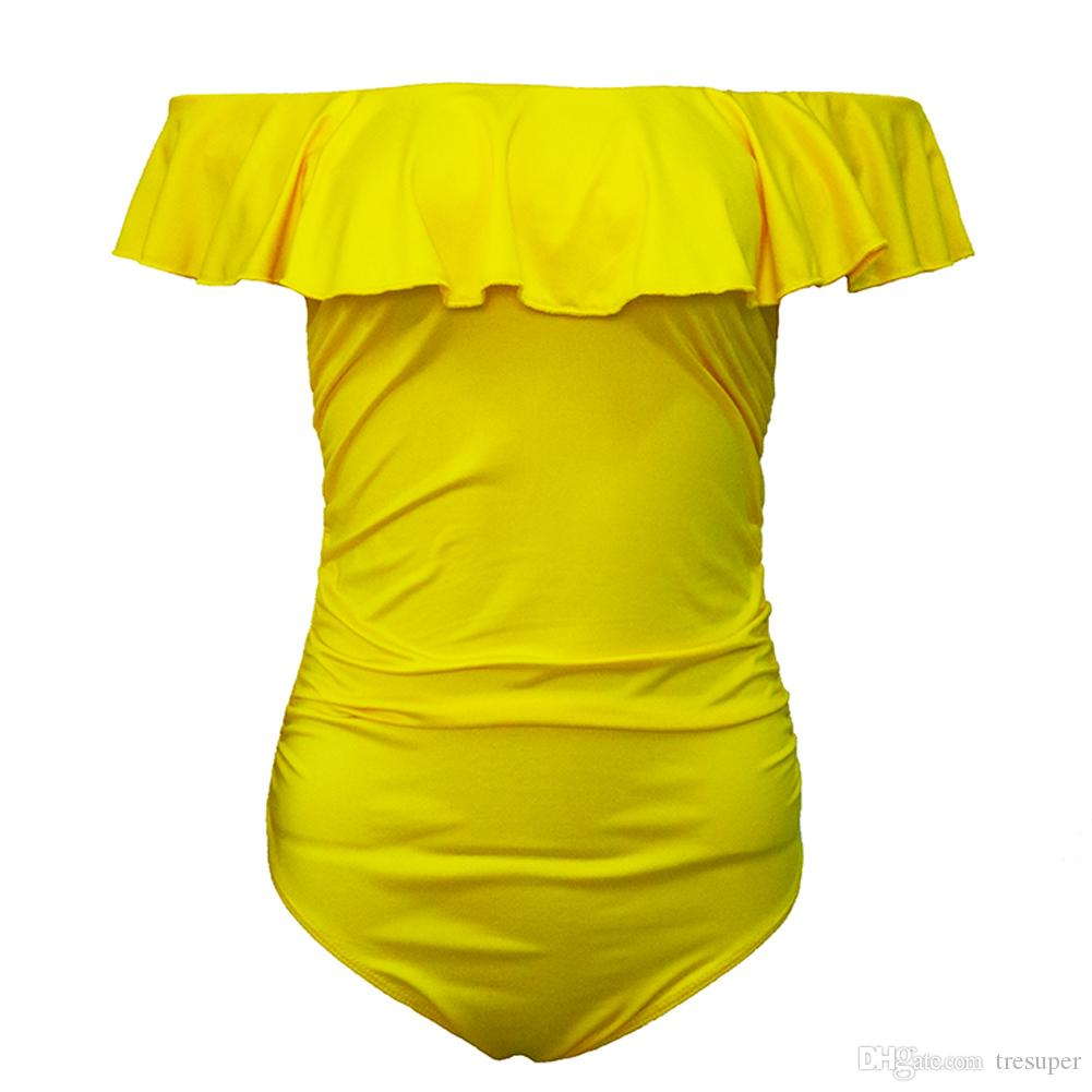 2017 New One Piece Swimsuit Women Swimwear Brazilian Sexy Strapless Swimsuit Female Retro Pure Color Beachwear Monokini